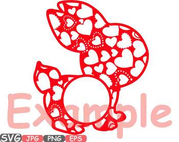 Easter bunny Flowers and hearts frame clipart fun rabbit designs t shirt 637s