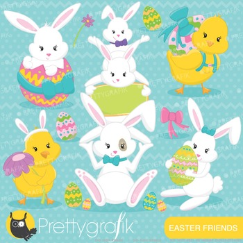 Easter bunny clipart commercial use, vector graphics, digital - CL642