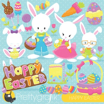 Easter bunny clipart commercial use, vector graphics, digital - CL820