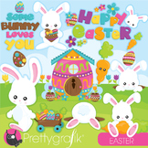 Easter bunny clipart commercial use, vector graphics, digital - CL947