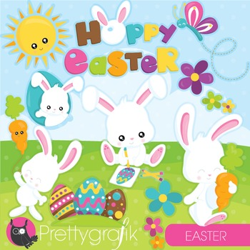 Easter bunny clipart commercial use, vector graphics, digital - CL948