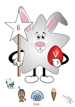 Easter bunny mascot a- z with pictures of nouns