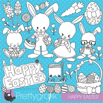 Easter bunny stamps commercial use, vector graphics, images - DS820