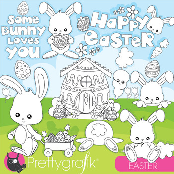Easter bunny stamps commercial use, vector graphics, images  - DS947
