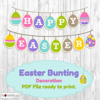 Easter bunting classroom decoration. Easter banner. PDF File ready to print.