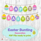 Easter bunting classroom decoration. Easter banner. PDF Fi