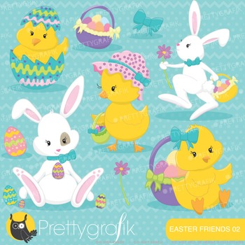 Easter chicks bunny clipart commercial use, vector graphics, digital - CL643