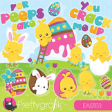 Easter chicks clipart commercial use, vector graphics, digital, peeps - CL949