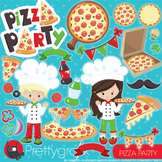 Pizza party clipart commercial use, vector graphics, digital - CL950