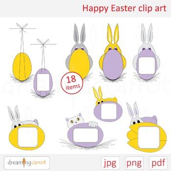 Easter clip art. Rabbit, cat, egg, banner, flower, tulip, bouquet, mono, balloon