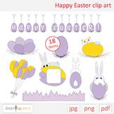 Easter clip art. Rabbit, cat, egg, banner, flower, tulip,