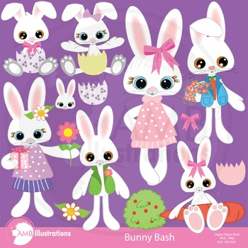 Easter clipart, Easter bunny clipart, Easter pack digital clipart AMB-370