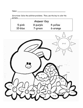 Easter color by number addition