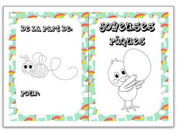 Easter colouring cards in French 4