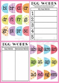 Easter egg beginning blend words and recording sheets
