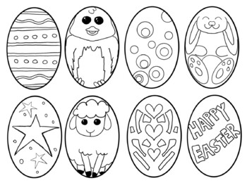 Easter egg cut and color coloring page multiple uses