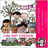 Easter egg hunt clip art - LINE ART- by Melonheadz