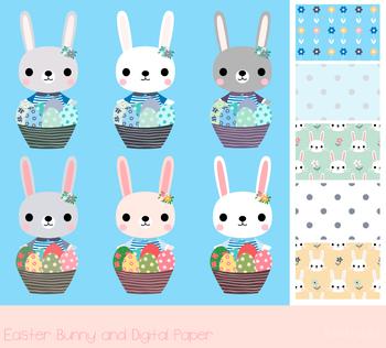 Easter egg hunt clipart, Cute Easter bunny, Easter eggs clip art, Digital paper