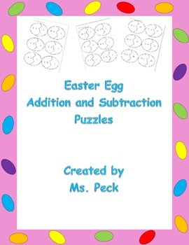 Easter egg puzzles for addition and subtraction