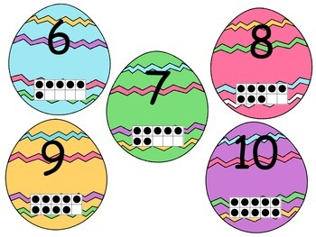Easter egg themed numbers to 20 ten frame match up