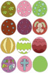 Easter eggs clipart 36 files+Black white coloring outline Bundle