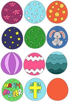 Easter eggs clipart 36 files+Black white coloring outline Bundle