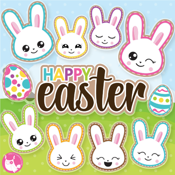 Easter emoji's clipart commercial use, vector graphics  - CL1070