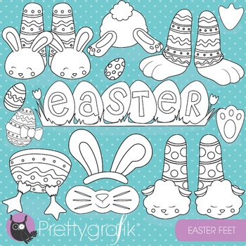 Easter feet stamps commercial use, vector graphics, images - DS823