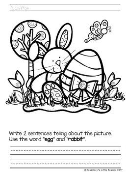 Easter fun coloring and writing prompts