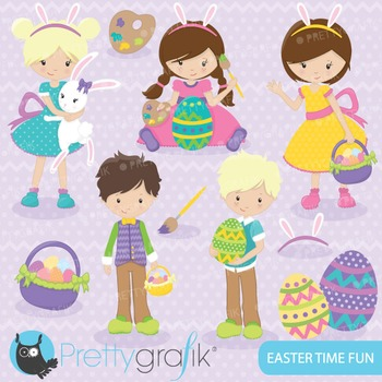 Easter kids clipart commercial use, vector graphics, digital - CL641