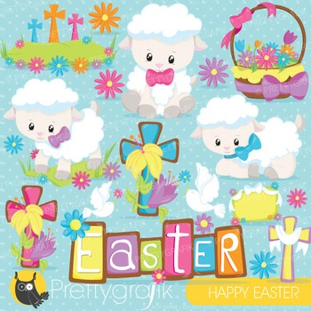 Easter lamb clipart commercial use, vector graphics, digital - CL821