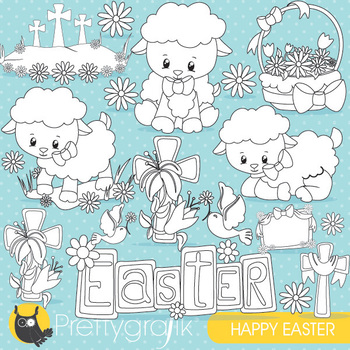 Easter lamb stamps,  commercial use, vector graphics, images  - DS821