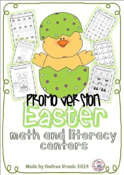 Easter math and literacy centers PROMO version