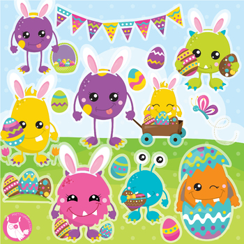 Easter monster clipart commercial use, vector graphics  - CL1131