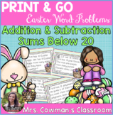 Easter or Spring Time Word Problem Task Cards: Sums to 20