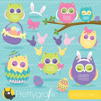 Easter owl clipart commercial use, vector graphics, digital - CL649