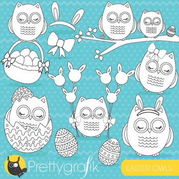 Easter owls stamps commercial use, vector graphics, images - DS649
