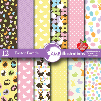 Digital Papers - Easter Digital Papers, Easter Egg backgrounds, AMB-391