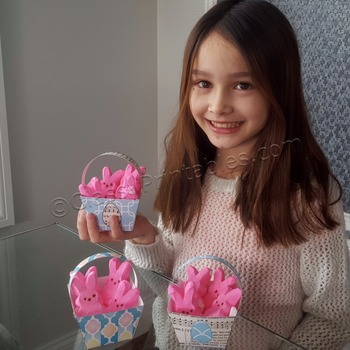 Easter peeps baskets and FREE coloring pages and egg mobile