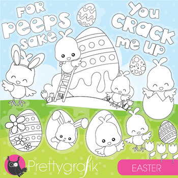 Easter peeps stamps commercial use, vector graphics, images  - DS949
