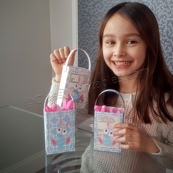 Easter peeps treat bags and FREE coloring pages and egg mobile