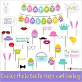 Easter photo props and bunting. Printable. Classroom decoration and props.