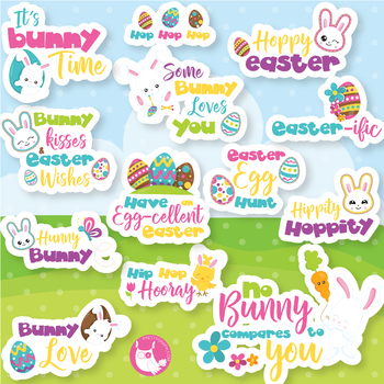 Easter puns clipart commercial use, vector graphics  - CL1076