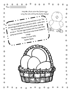 Easter reading activity - Read and color!