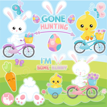 Easter ride clipart commercial use, vector graphics  - CL1127