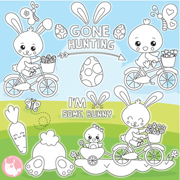 Easter ride stamps commercial use, vector graphics, images  - DS1127