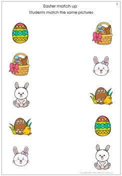 Easter same or different worksheets
