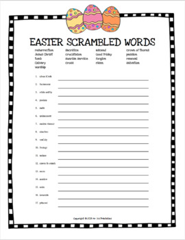 Easter scrambled words no prep printable worksheet - Religious version