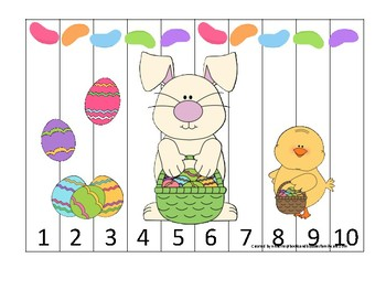 Easter themed 1-10 Number Sequence Puzzle Game. Printable Preschool