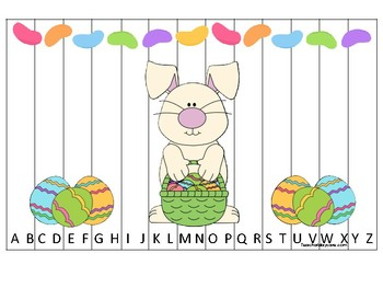 Easter themed Alphabet Sequence Puzzle Game. Printable Preschool Gam